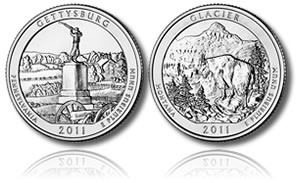 Gettysburg and Glacier National Park Coins